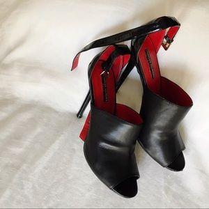 Charles Jourdan black leather stilettos